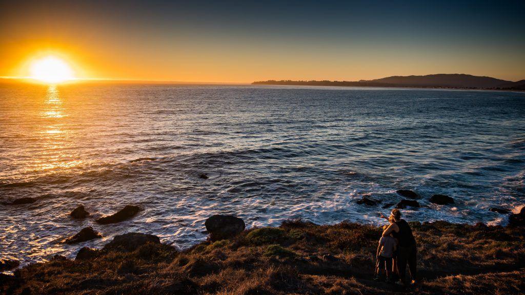 Vater, Sohn, Strand
