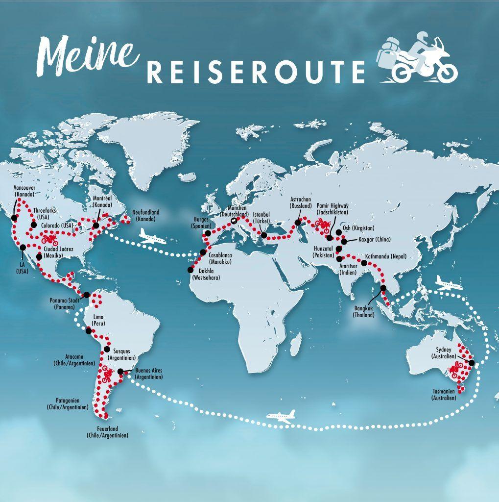 """Reiseroute Lea Rieck: """"Sag dem Abenteuer, ich komme: Wie ich mit dem Motorrad die Welt umrundete und was ich von ihr lernte"""""""