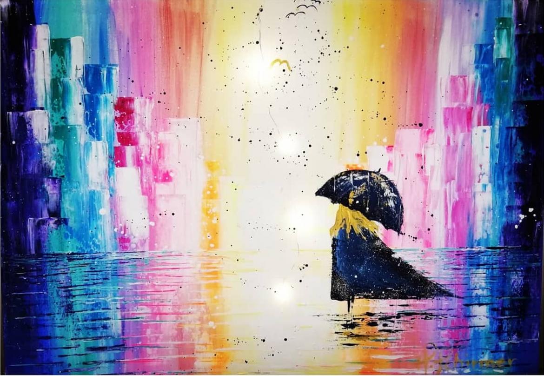 Halina Schirmer Kunst Mädchen mit Schirm und Regenbogen